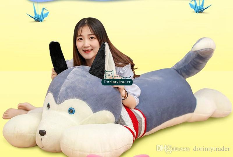 Dorimytrader Jumbo Plush Anime Husky Dog Toy Giant Stuffed Soft Animal Puppy Pillow Doll Gifts for Children 4 Sizes DY60301