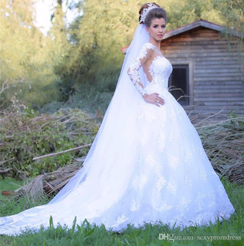 Abiti da sposa a maniche lunghe in pizzo pieno 2017 Sheer Neck A Line Abiti da sposa da giardino vedere attraverso la schiena Spazzata Trainvestido De Noiva