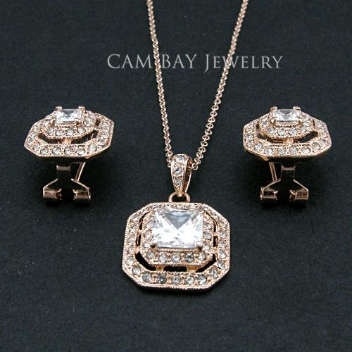 18K Gold/Imitation Rhodium Plated Luxury Austrian Zircon Vintage Jewelry Set Environmental Alloy with Czech Rhinestone Side Setting