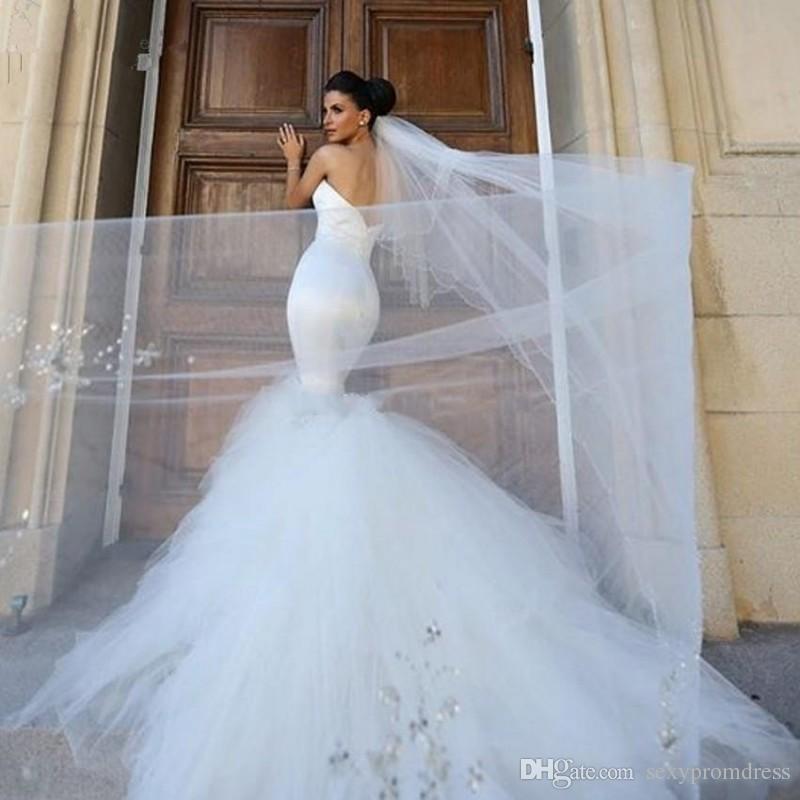 Design simples Sereia Vestidos De Noiva 2016 Querida Frisado Tule Sweep Train Praia Vestidos de Noiva Sexy Backless Vestidos de Casamento Custom Made