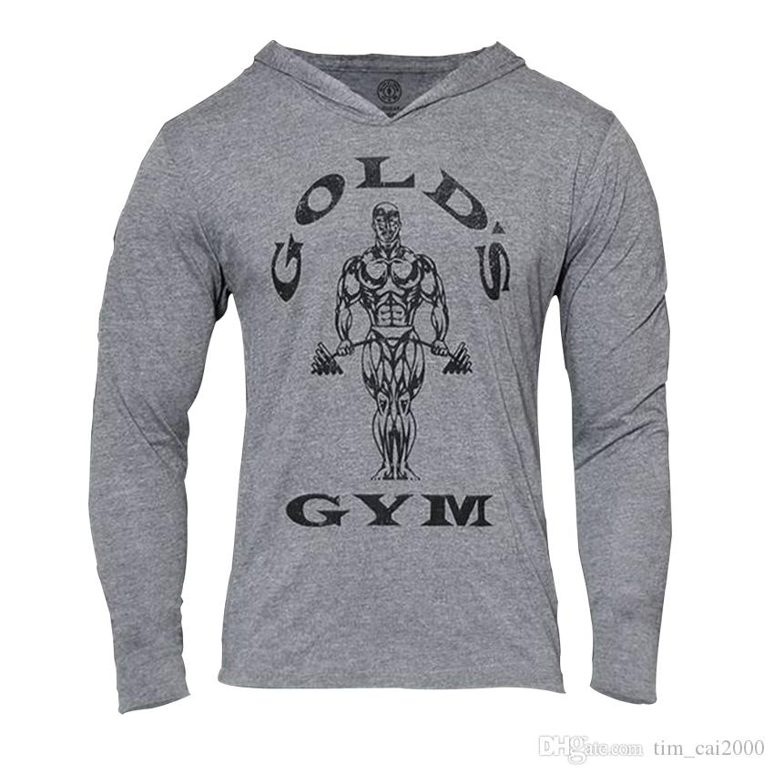 Mens Gym Hoodie Long Sleeve Bodybuilding Hoody Men Sports Suits Tank Top Muscle Shirts Cotton Assassins Creed Gold Gym