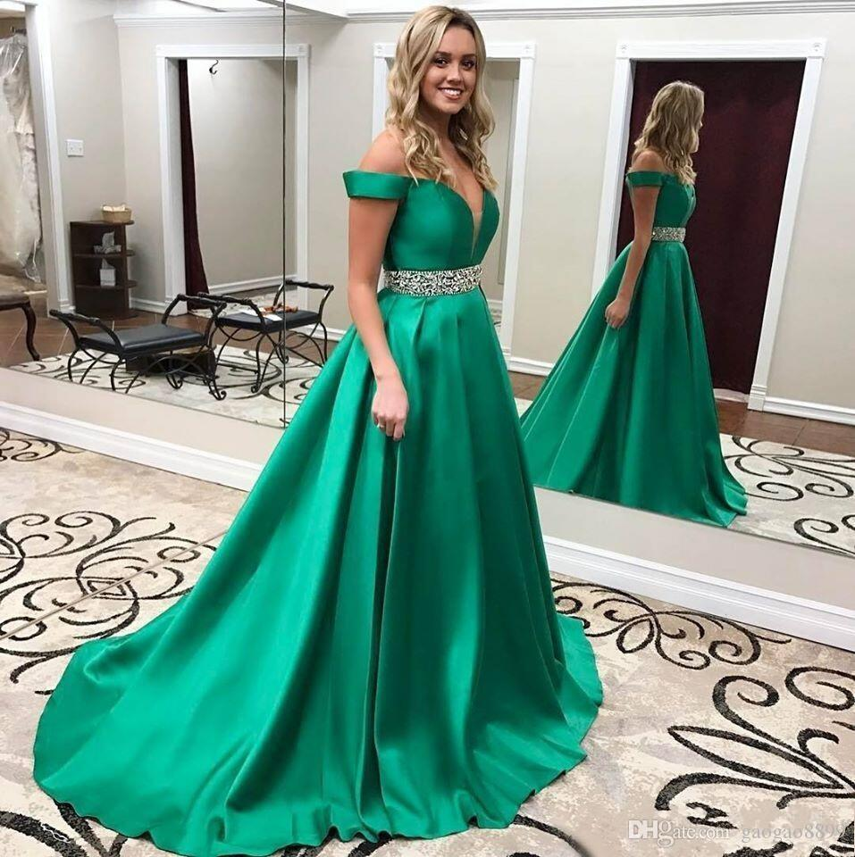 2019 Sexy Grüne Abendkleider A-Line Satin weg von der Schulter Ärmel Roter Teppich lange formale Festzug Ballkleider wulstigen Taillen-Partei Abendkleider