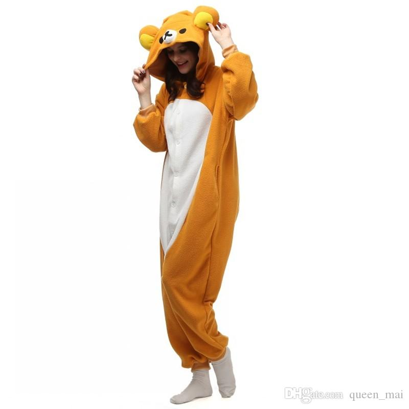 Well Made 2016 NEW Fleece Rilakkuma Bear Kigu Pajamas Anime Cosplay Costume Unisex Adult Onesie Sleepwear Cartoon Bear Jumpsuit Free