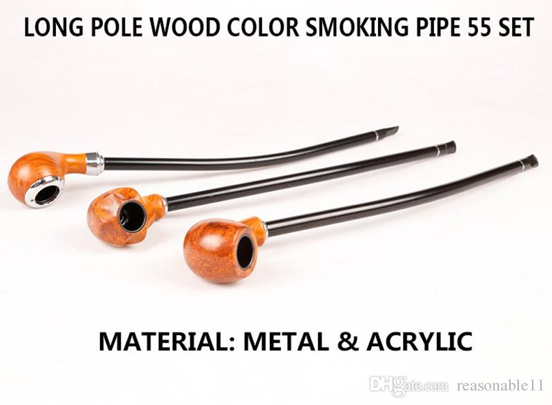 Wood Smoking Tobacco Pipe for Cigarette Black 41cm Long Handle Pole Metal Acrylic Sharpstone Wooden Head