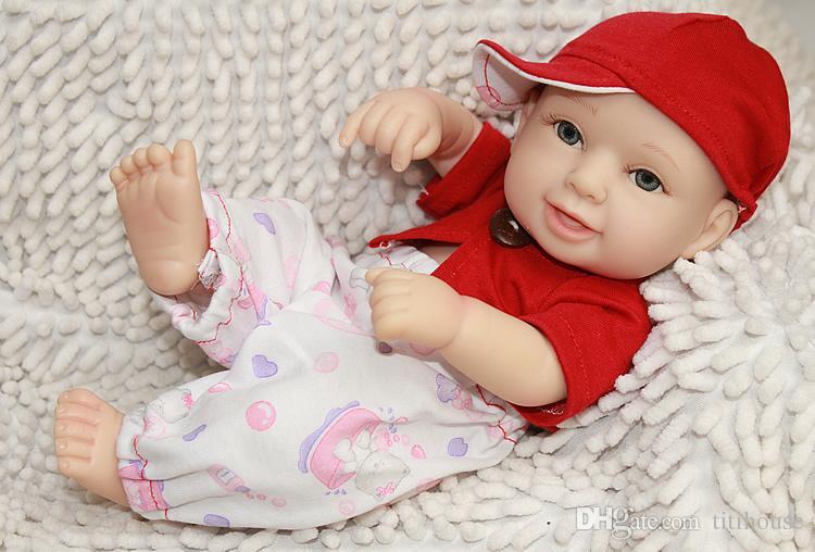 10 pouces À La Main Full Body Silicone Vinyle Poupée Reborn Twins Princesse Fille Et Garçon Bébés Avec Cheveux Peints Enfants Cadeau D'anniversaire De Noël