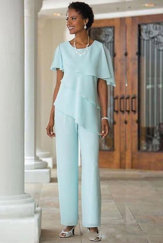 Nya moderbyxor passar bröllop Gästklänning Chiffon Kortärmad Tiered Mor av Bride Pant Suits Trousers BA6965