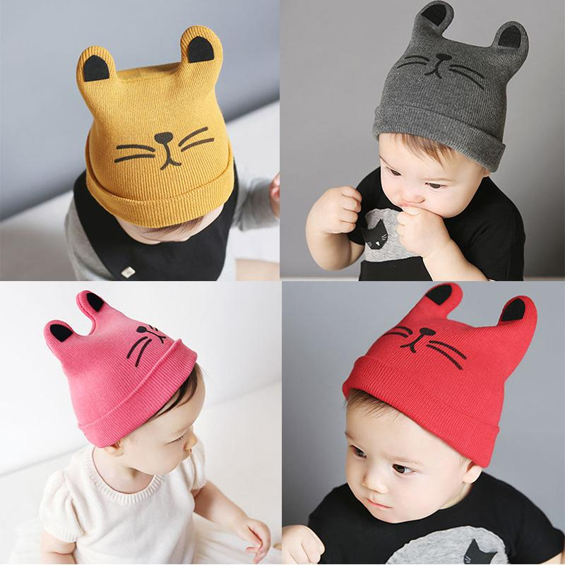 6464d7fa5 Cartoon Cat Ear Toddler Hats Winter Milk Baby Caps Warm Knitted ...