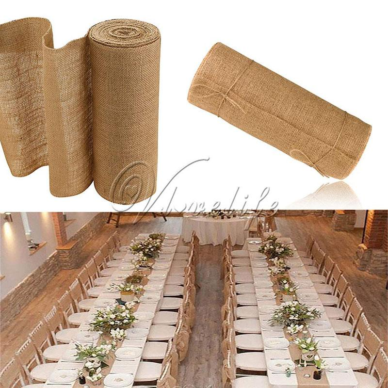 10meter X 30cm Natural Jute Hessian Burlap Ribbon Roll Burlap Table Runners  Wedding Party Chair Bands Vintage Home Decorations Party Themes Supplies  Party ...
