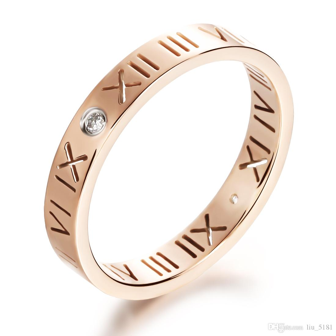 2018 Lucky Roman Numeral With Cz Diamond Rose Gold Engagement Ring ...