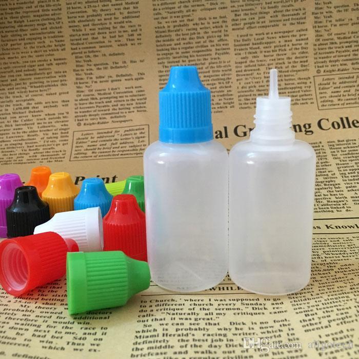 PE bouteille de qualité 30ml Les bouteilles vides de bouteilles en plastique Dropper avec couvercle Childproof 1OZ E Liquide huile Bouteilles /