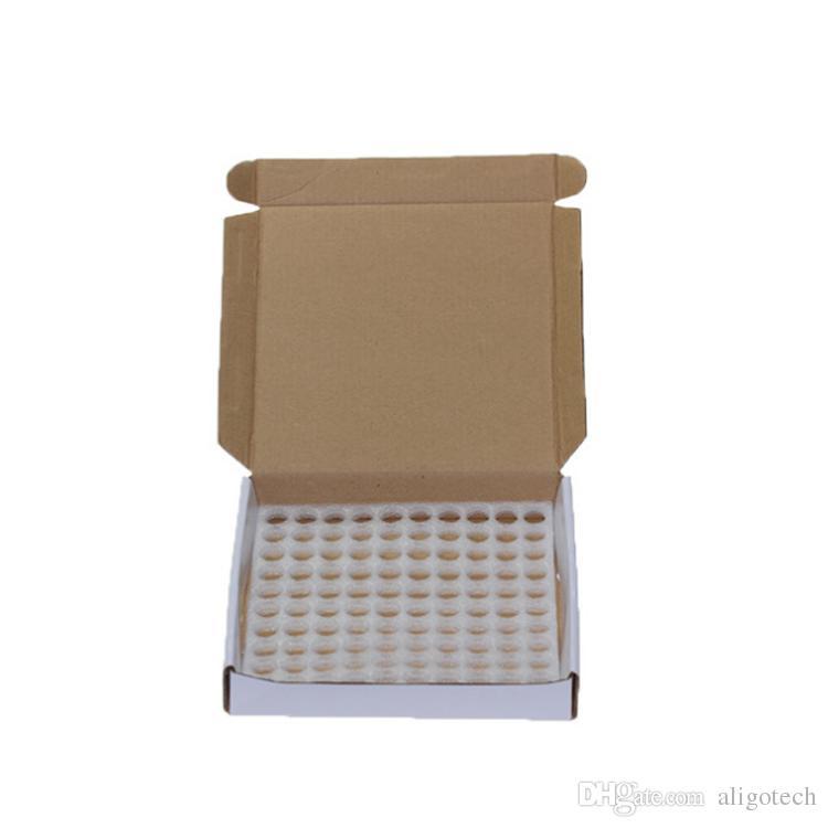 100 zestawów / pudełko - 1 ml 2ml Mini Bursztynowe szkło Essential Oil Próbki Butelki Małe perfumy Kroplówki butelki do Ejuice Eliquid z wtyczką i czapkami
