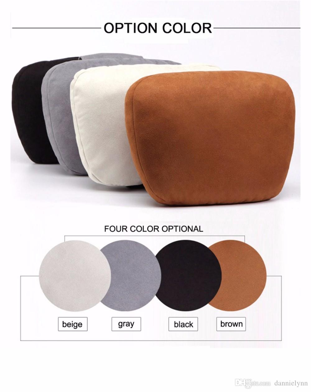 Flight travel car headrest pillow auto seat head neck rest chamois leather pillow soft nursing cushion pad for benz s class auto cushions auto gel seat
