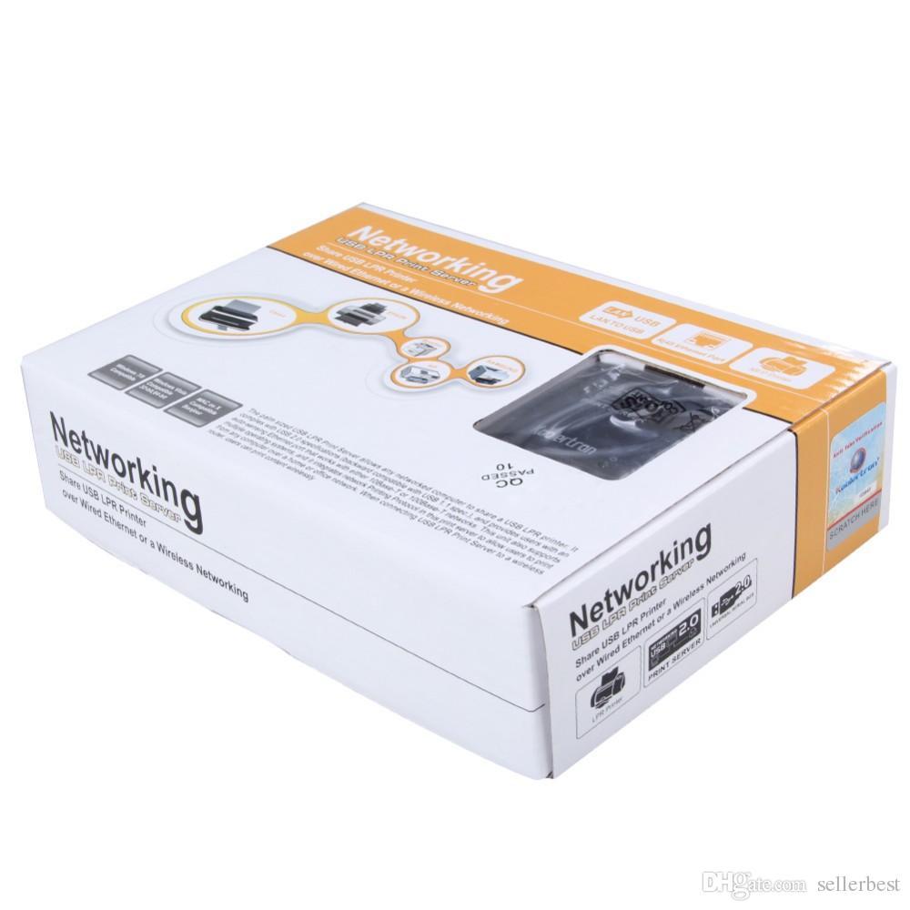 UAK-WS-NU72P11 USB 2.0 10/100 Mbps RJ45 LRP Baskı Sunucusu Paylaşmak LAN Ağ Yazıcısı Perakende Kutusu ile Ethernet Hub Adaptörü