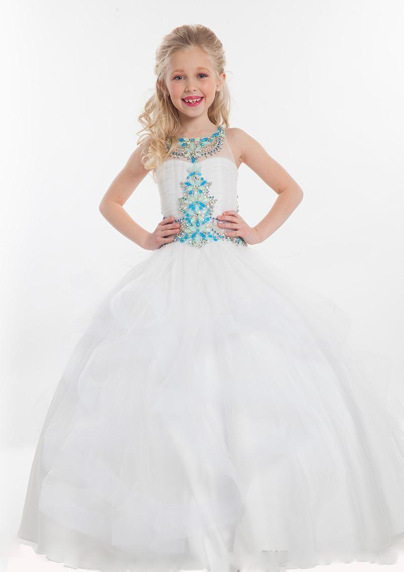 2020 Cute Cheap Flower Girls Dresses For Weddings Tulle Turquoise Crystal Beaded Ruffles Party Birthday Dress Children Girl Pageant Gowns
