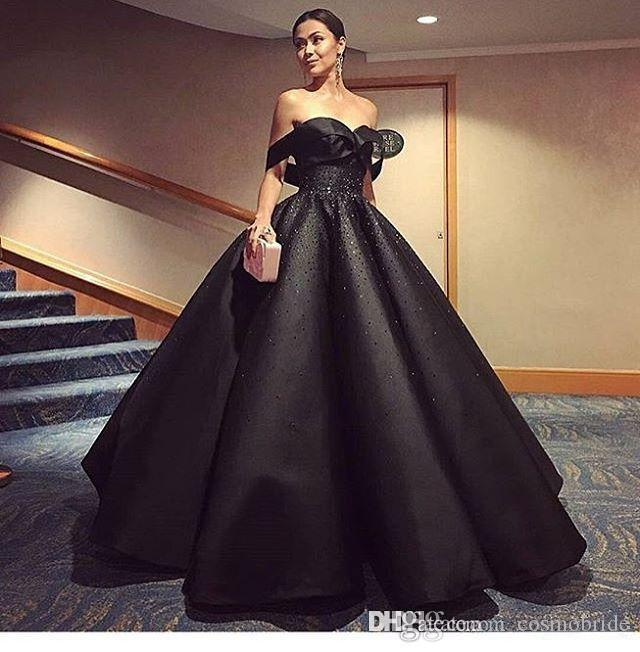 Modest Black 2017 Ball Gown Evening Gowns Off Shoulder Shiny Beaded ...