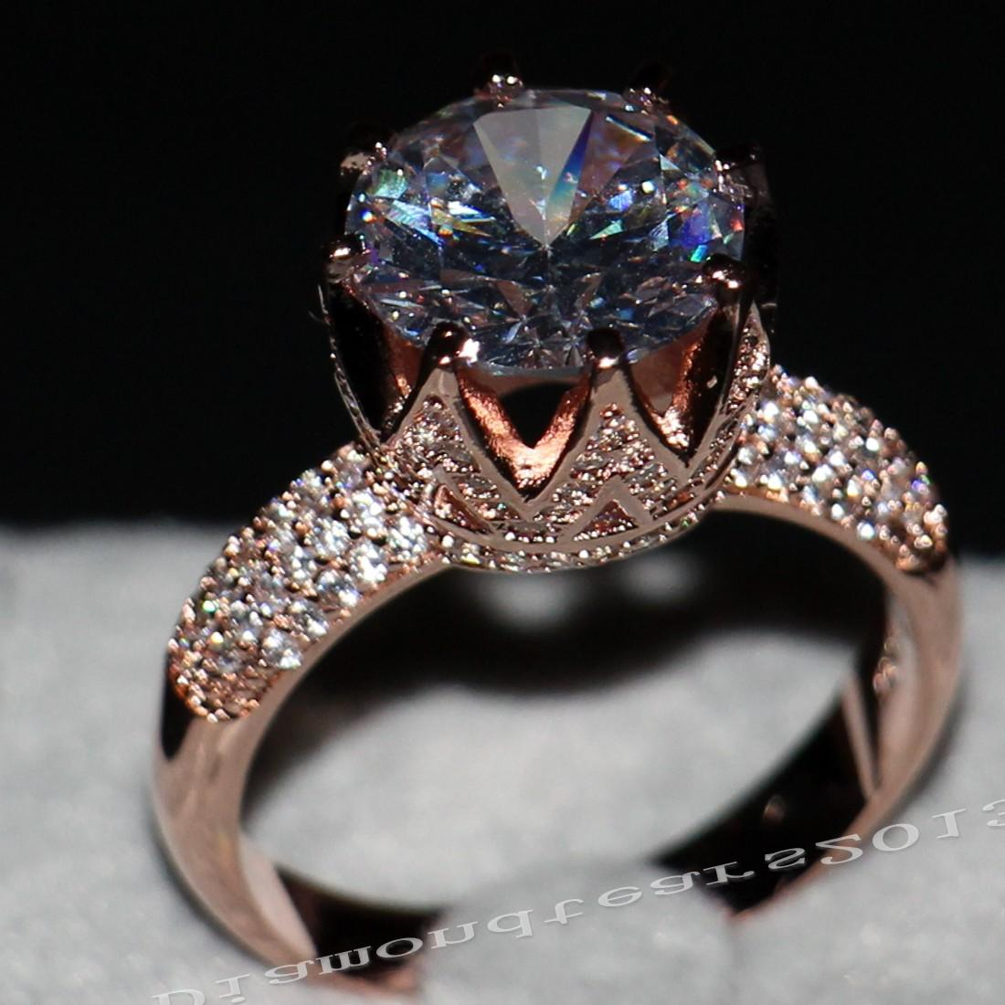 Victoria Wieck joyería de lujo 8ct Solitaire 11mm blanco zafiro diamante simulado la boda de Rose de oro de la corona de la banda de los anillos de las mujeres Tamaño 5-11 regalo