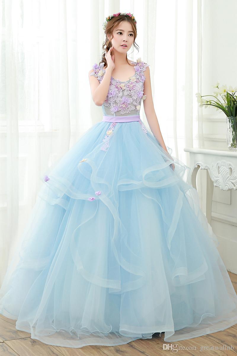 100%real Light Blue Flower Ruffle Beading Ball Gown Medieval Dress ...