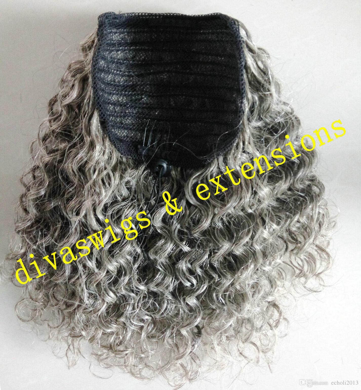 Deux tons ombre vierge cheveux gris feuilletée gris pièce de cheveux en queue de cheval cheveux gris deux peigne 14inch