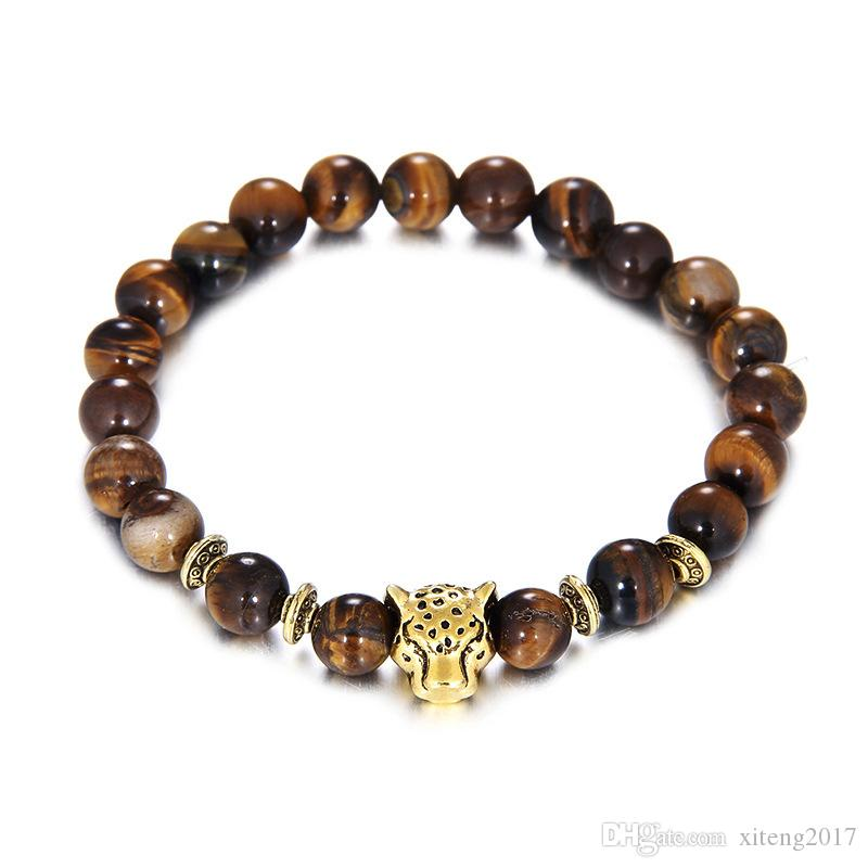 2017 8mm Tiger Eye Beads Bracelet Fashion Jewelry Wholesale Natural Stone With Buddha Charm Stone Beads Men Bracelets & Bangle Lion & Leopar