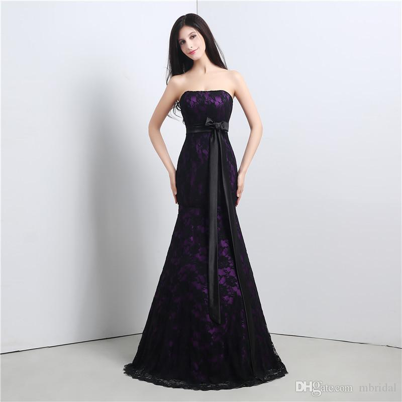 Cheap Elegant Purple Long Mermaid Evening Dress Strapless Neck ...