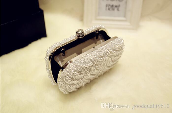 Handgemachte weiße / cremige Frauen Girl ABS Pearl Clutch Taschen Kette Handtasche Geldbörse Abendtasche Bankett Taschen
