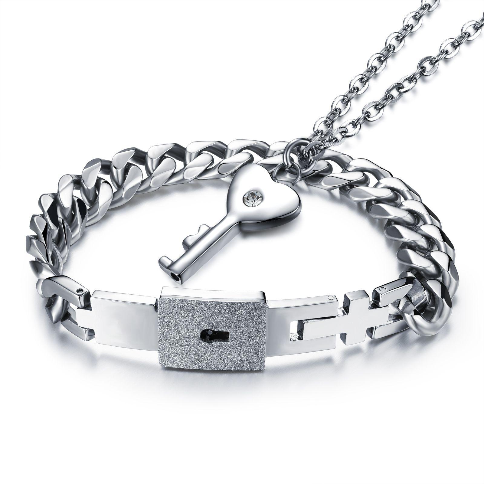 2 unids su y su acero inoxidable amor corazón bloqueo brazalete corazón clave collar parejas parejas amantes conjunto de la joyería regalo del día de san valentín