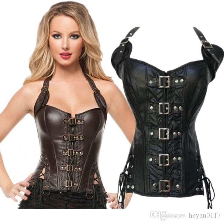 3aa555f7df5 2019 Steampunk Sexy Black Faux Leather Buckle Overbust Halter Corset Top  Waist Corselet Burlesque Costume Push Up Corsets From Heyan0117