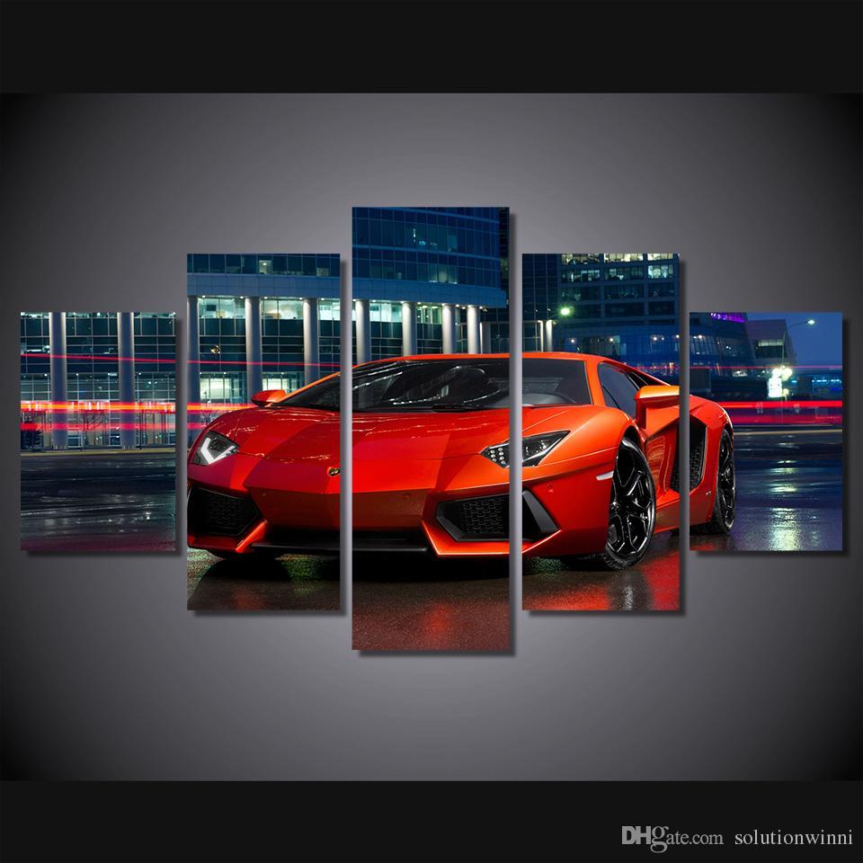 Satın Al 5 Adet Hd Baskılı Kırmızı Lüks Spor Araba Boyama Tuval