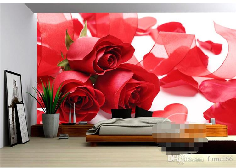 3D Mural Wallpaper Home Decor Background Photography Red Rose Petal Wedding Dress Bathroom Wall Mural for Living Room