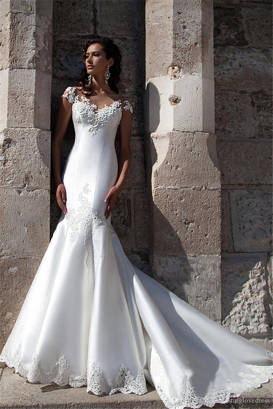 Abito da sposa in pizzo a maniche corte in pizzo Abito da sposa Sensa Destinazione Sheer Destinazione Destinazione Bridal Dress Vestidos de Noiva Saia Rimovivel