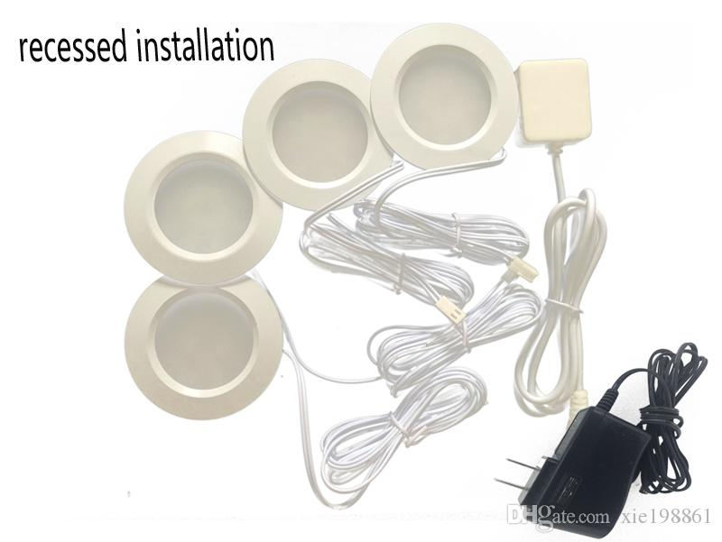 4шт утопленная установка постоянного тока 12В 3W светодиодные шайба/кабинет свет,светодиодный прожектор +1 шт. разъем питания+1шт 12V 2A адаптер