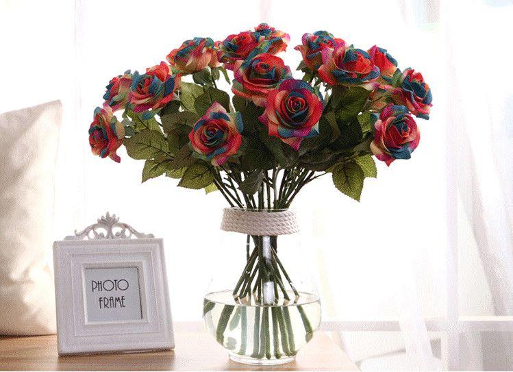 Satın Al Yapay Gül çiçekler Tek Uzun Kök Buket Güzel Simülasyon