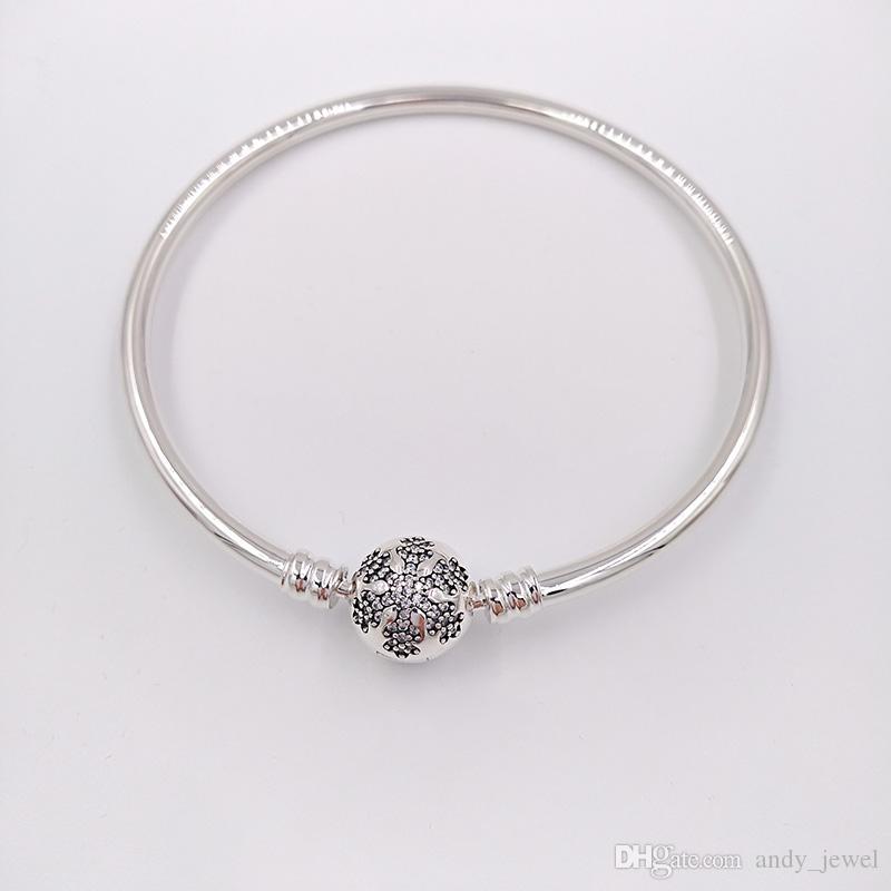Аутентичная 925 Silver Уникальной Снежинка Моменты Серебряный браслет Подходит Европейский Pandora ювелирных изделий типа Charms Beads 590740CZ