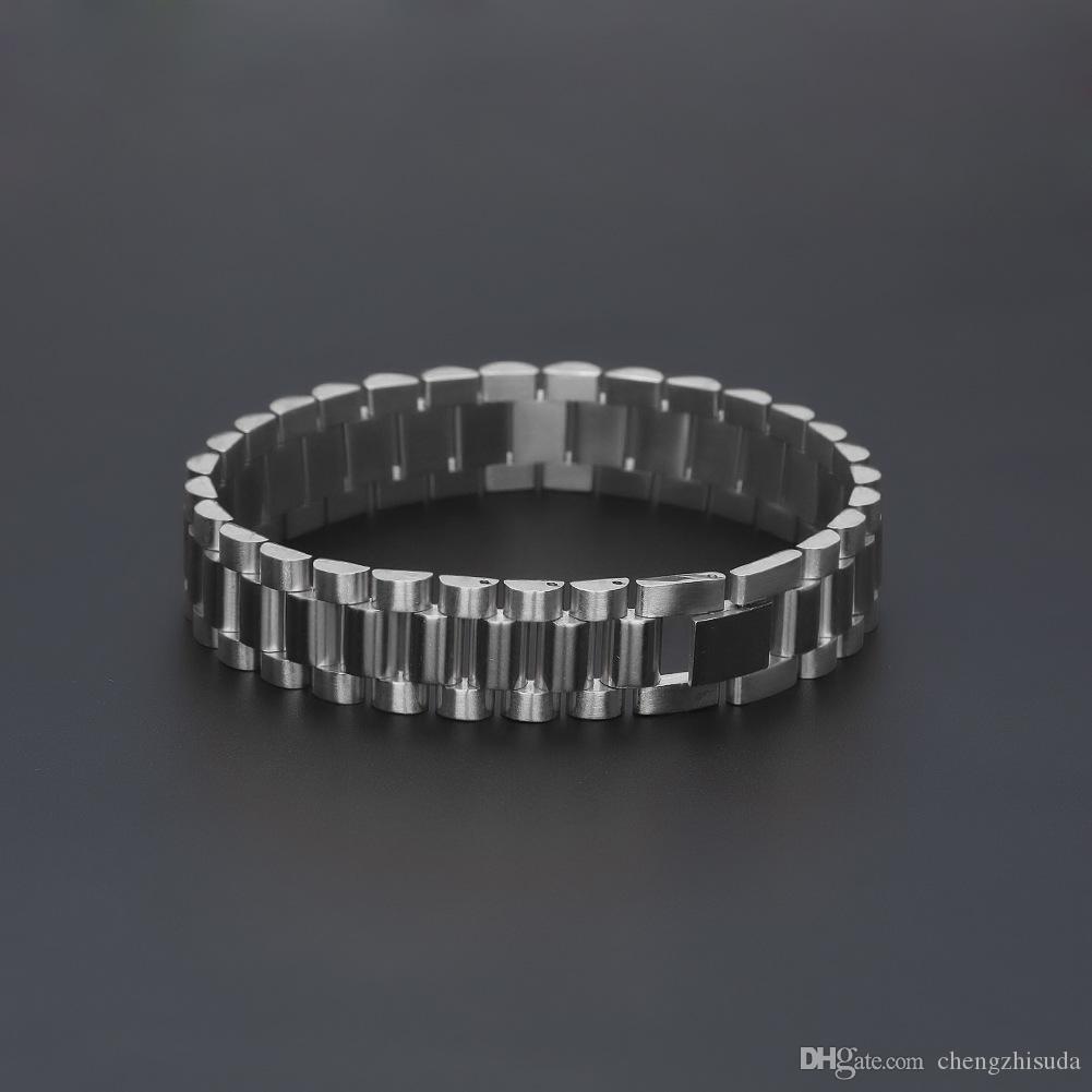 Bracciale da uomo in acciaio massiccio 22.5cm * 1.5cm con cinturino in argento massiccio