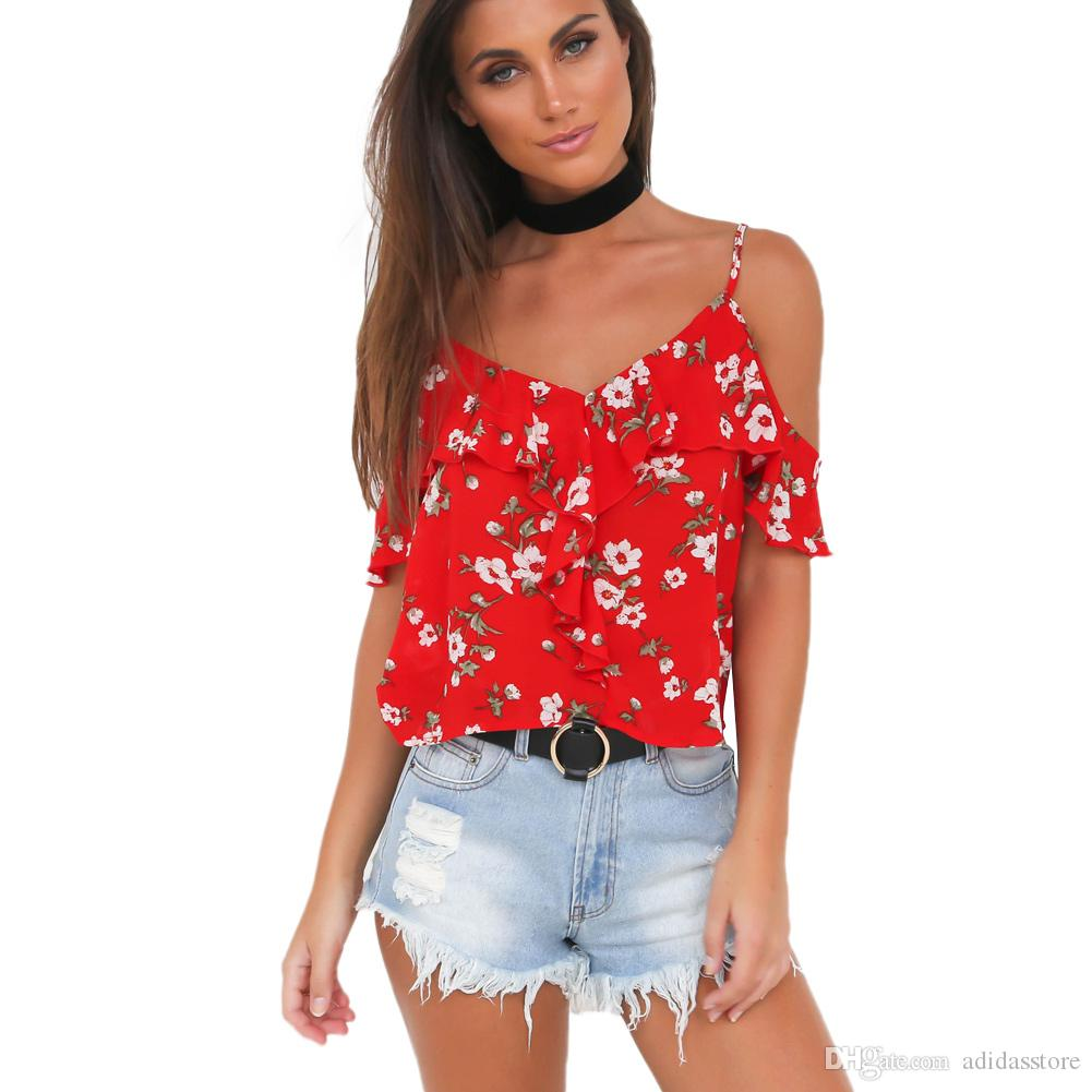 d186e3d6ebe 2019 Summer Off Shoulder Chiffon Blouse Spaghetti Strap Floral Ruffled Crop  Top Flare Sleeve Casual Loose Shirt Tops Red Camisas From Adidasstore