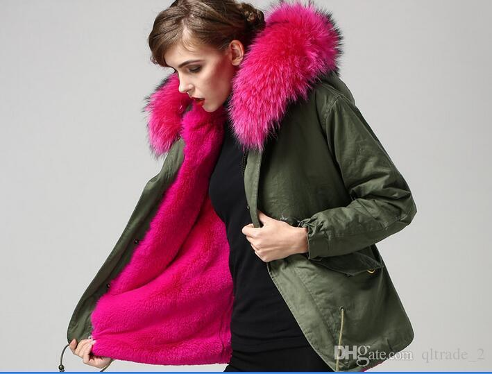 beautiful Meifeng rose fur trim 100% rose red rabbit fur lined army green canvas women parka short style warm jackets with raccoon fur hoody