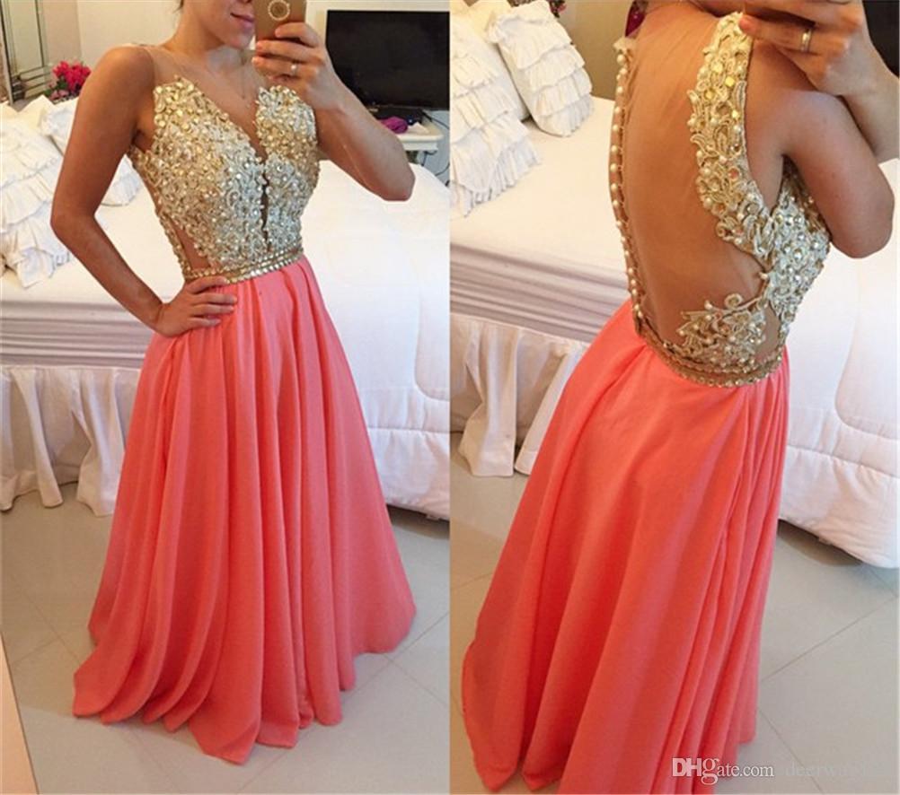 Zarte Perlen Chiffon A-Linie Abendkleid Reißverschlussknopf Zurück Coral Evening Dress Illusion Zurück vestidos de gala largos