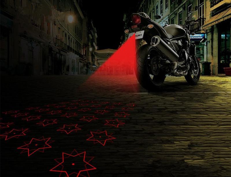 12V Motosiklet Önlemek Arkadan Sis Farları LED Lazer Uyarı Işıkları