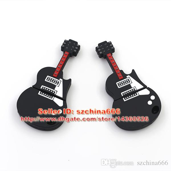 Musical Instrument Black Guitar Silicon Silicone Usb Flash Drive Usb Memory Stick 8GB 16GB 2GB 4GB Flash Memory Stick Pen Drive Disk PVC