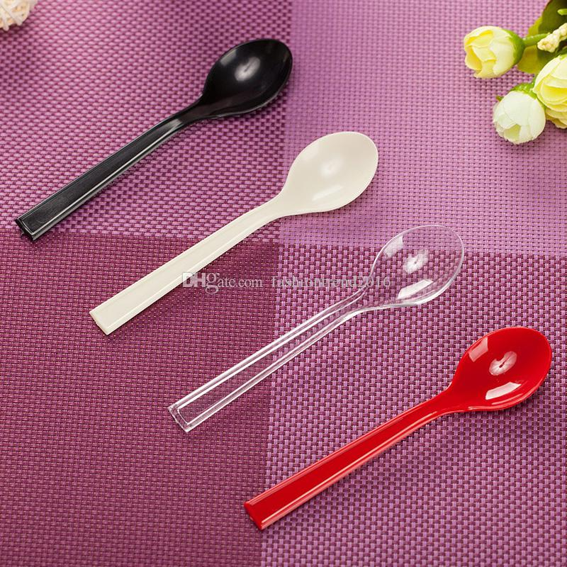 Candy Color Soup Spoons Restaurant Outdoor Disposable Spoons Economical Plastic Spoon for Party Wedding BBQ