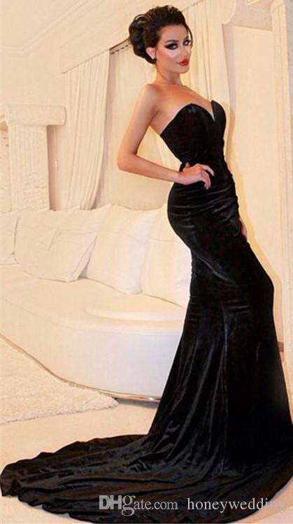 Semplice Nero aderente Sirena Abiti da cerimonia Abiti da sera Sweetheart Tromba Velour Sweep Treno Donne Occasioni speciali Vestito Personalizzato Economici