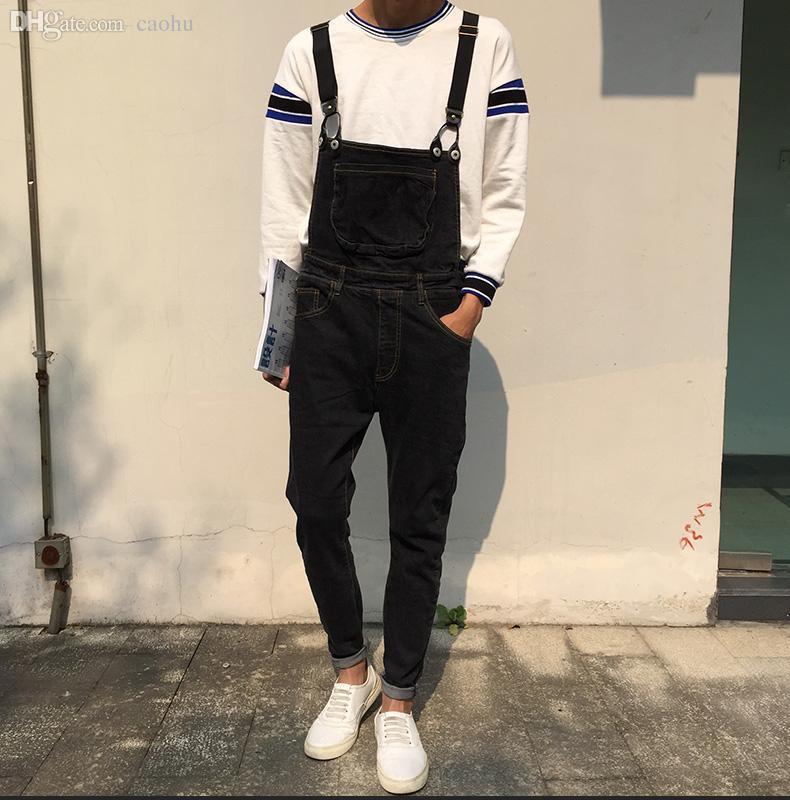 Mens black fashion overalls 40