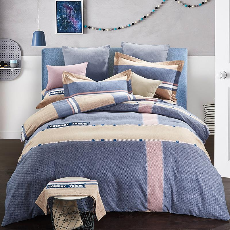 hometextile bed sheet four pieces bedding set queen and king size 100%cotton fabric brushed finish reactive printing good fastness 171020