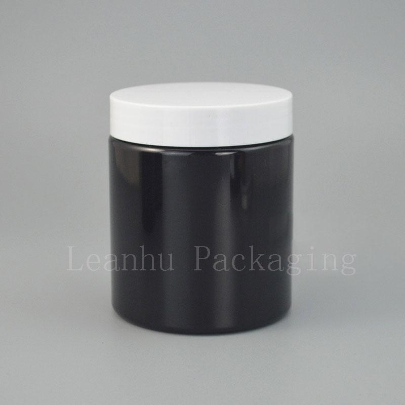 Black Cream Jar With Plastic Screw Cap,Empty Cosmetic Container,250G Refillable Eye Cream,Cream Personal Skin Care Canning Jars