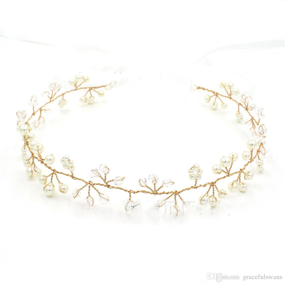 Kristal İnciler Kızlar için Büyüleyici Headpieces Satışa Altın ve Şerit Renkler Gelin Saç Takı Düğün Aksesuarları