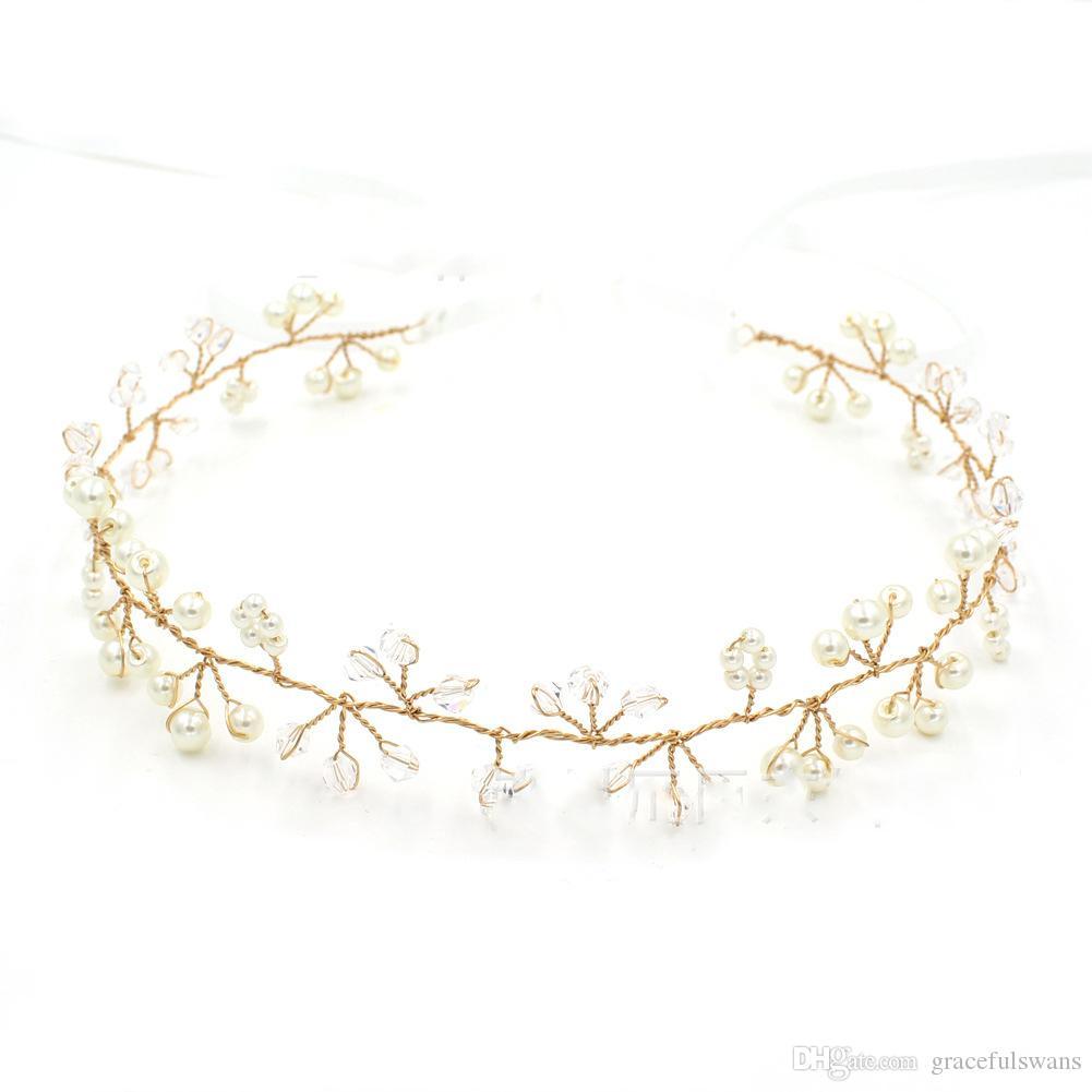 Pérolas De Cristal Encantador Headpieces para Meninas de Ouro e Lasca Cores Na Venda de Cabelo Nupcial Jóias Acessórios Do Casamento