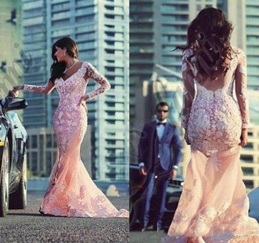 흑인 소녀 핑크 댄스 파티 드레스 2016 커플 패션 인어 공주 V 넥 라인 환상 긴 소매 스위프 트란 레이스 Appliqued Tulle Evening Gown