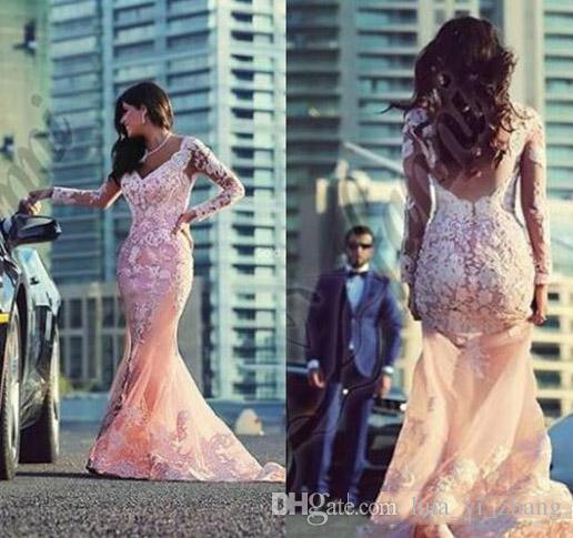 Black Girl Różowy Prom Dresses 2016 Pary Moda Moda Syrenka V dekolt z iluzją Długie Rękawy Sweep Tran Lace Appliqued Tulle Suknia wieczorowa