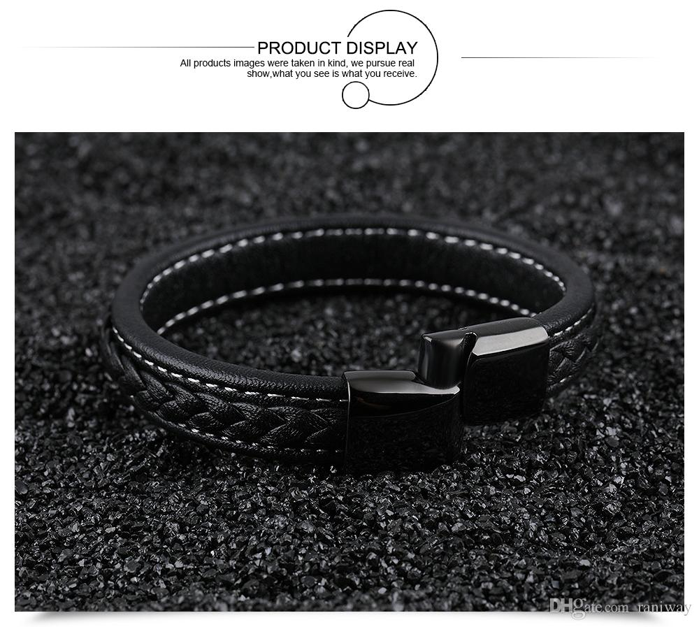 Vintage Black Genuine Leather Wrist Bracelet Magnetic Stainless Steel Clasp Bracelet for Men Punk Rock Surfer Mens Friendship Jewelry