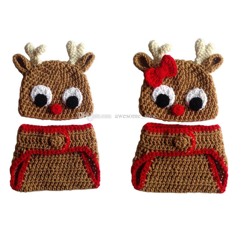 Crochet Twins Baby Reindeer Costume,Handmade Baby Boy Girl Rudolph Red Nose Moose Hat and Diaper Cover,Infant Newborn Christmas Photo Prop